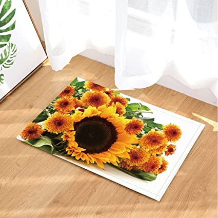 Door Mat Bathroom Rug Bedtoom Carpet Bath Mats Rug Golden sunflower flower