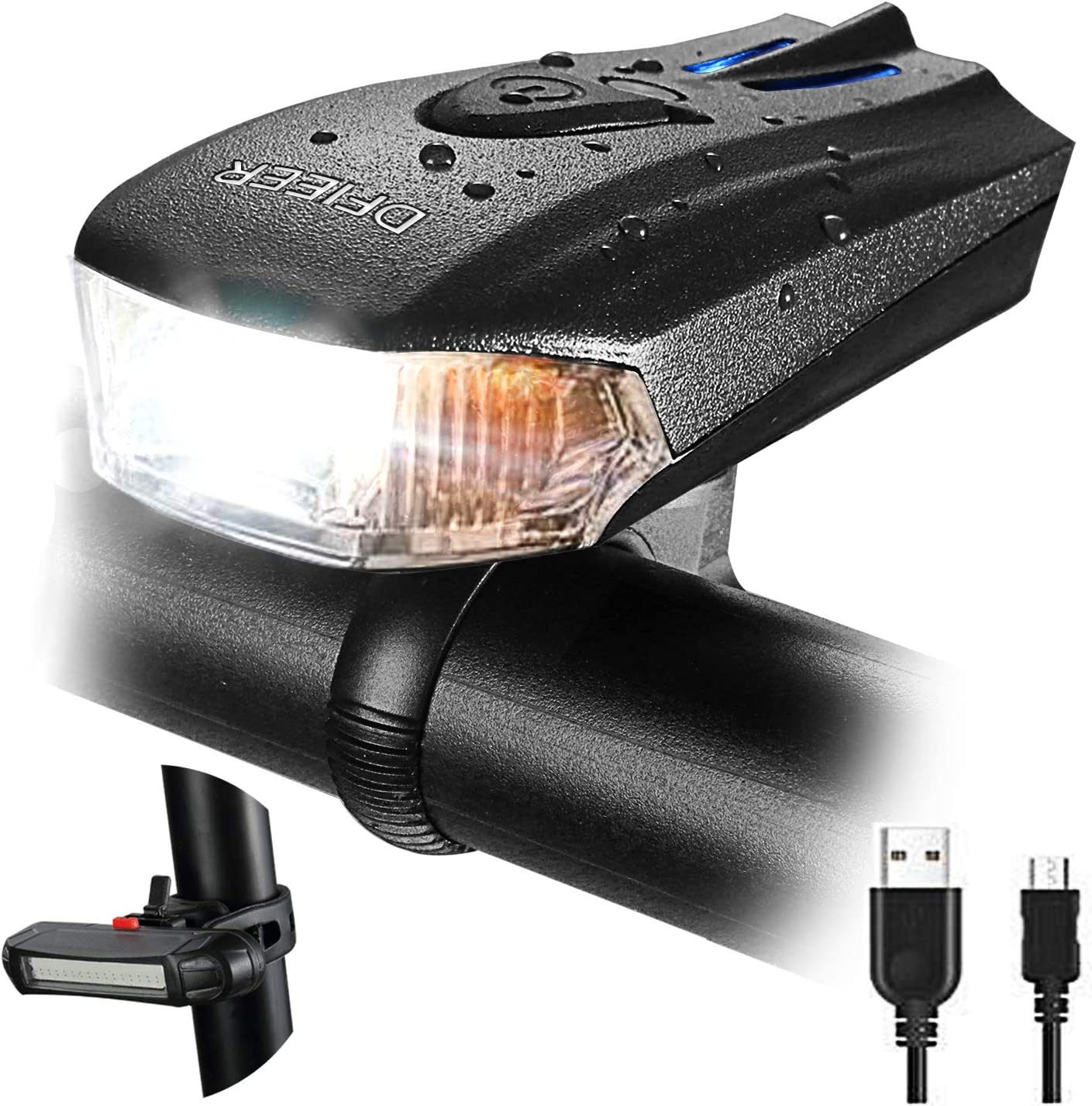 Automatic induction USB Rechargeable Bike Light Set Powerful Lumens Bicycle Headlight Free Tail Light, LED Front and Back Rear Lights Easy to Install for Kids Men Women Road Cycling Safety Flashlight