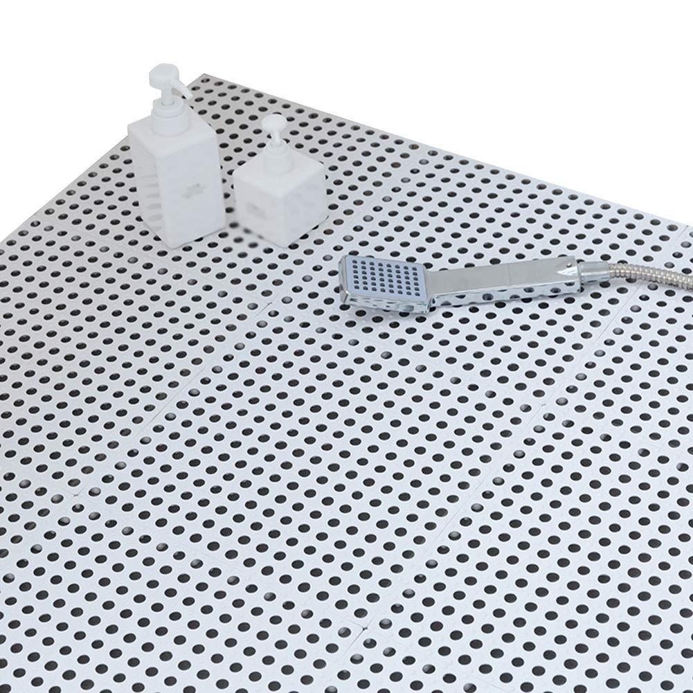 XXIOJUN-shower mat Splice Non-Slip Drainage Hole Odorless Foot Pad Plastic Shower Room, 10 Colors, 6 Sizes (Color : #A, Size : 10PCS)
