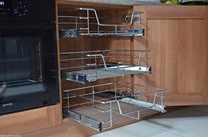 3 X 400mm Pull Out Wire Basket For Kitchen Larder Base Unit Cupboard