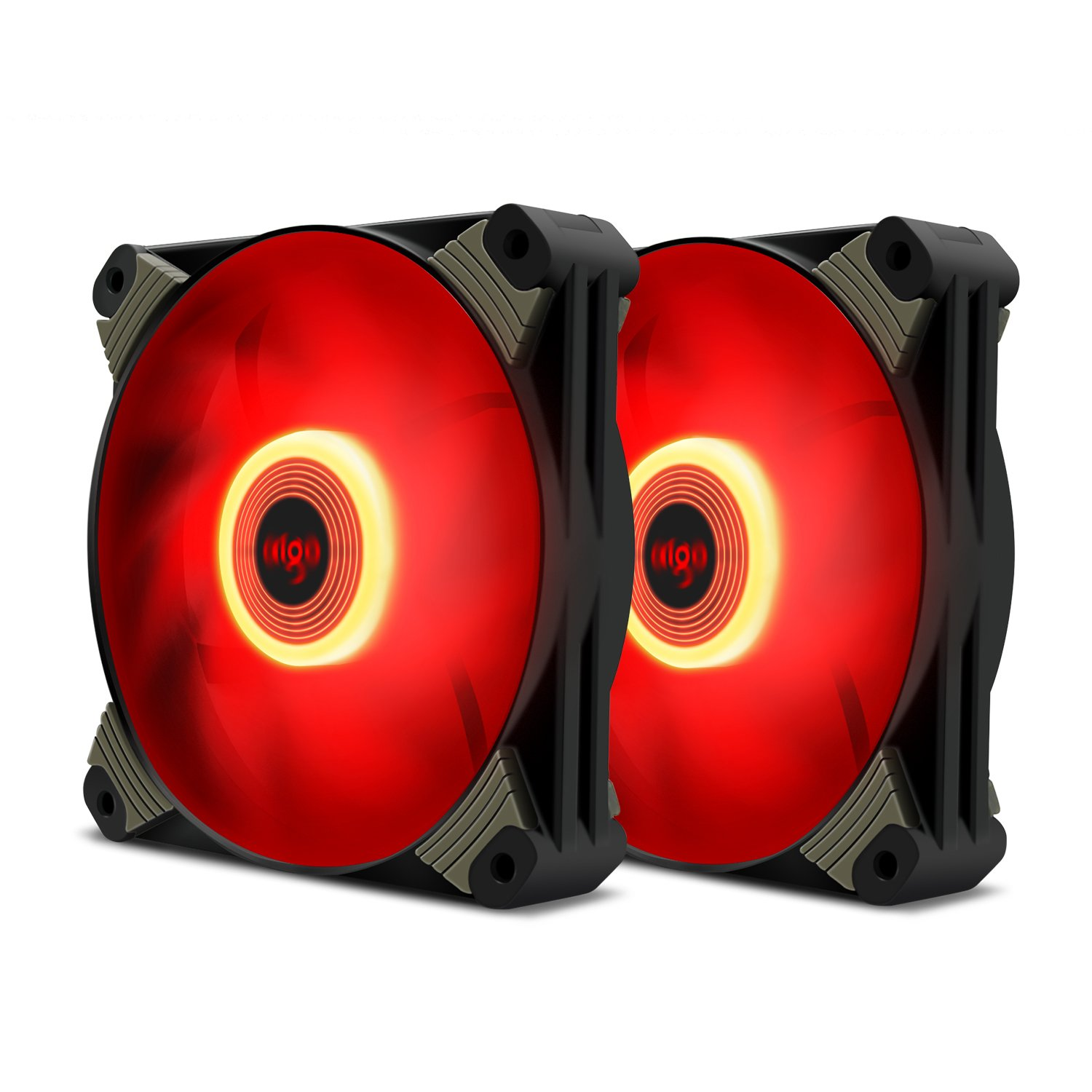 Aigo Icy-series X1 120mm LED Quiet Edition High Airflow Hybrid-Design Silent Fan for Computer Cases CPU Coolers and Radiators Ultra Quiet Computer PC Case Fan (2 Pack Red)