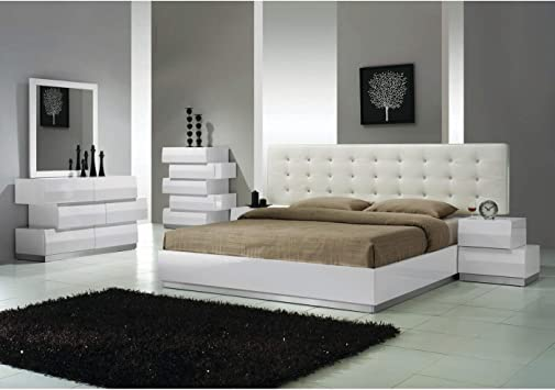 Amazon Com Best Master Furniture 5 Pcs Modern Bedroom Set Cal King White Furniture Decor