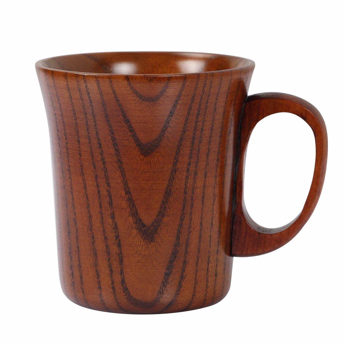 Geeklife Jujube Wood Coffee Mug Wooden Tea Cup, Brown (300ml)