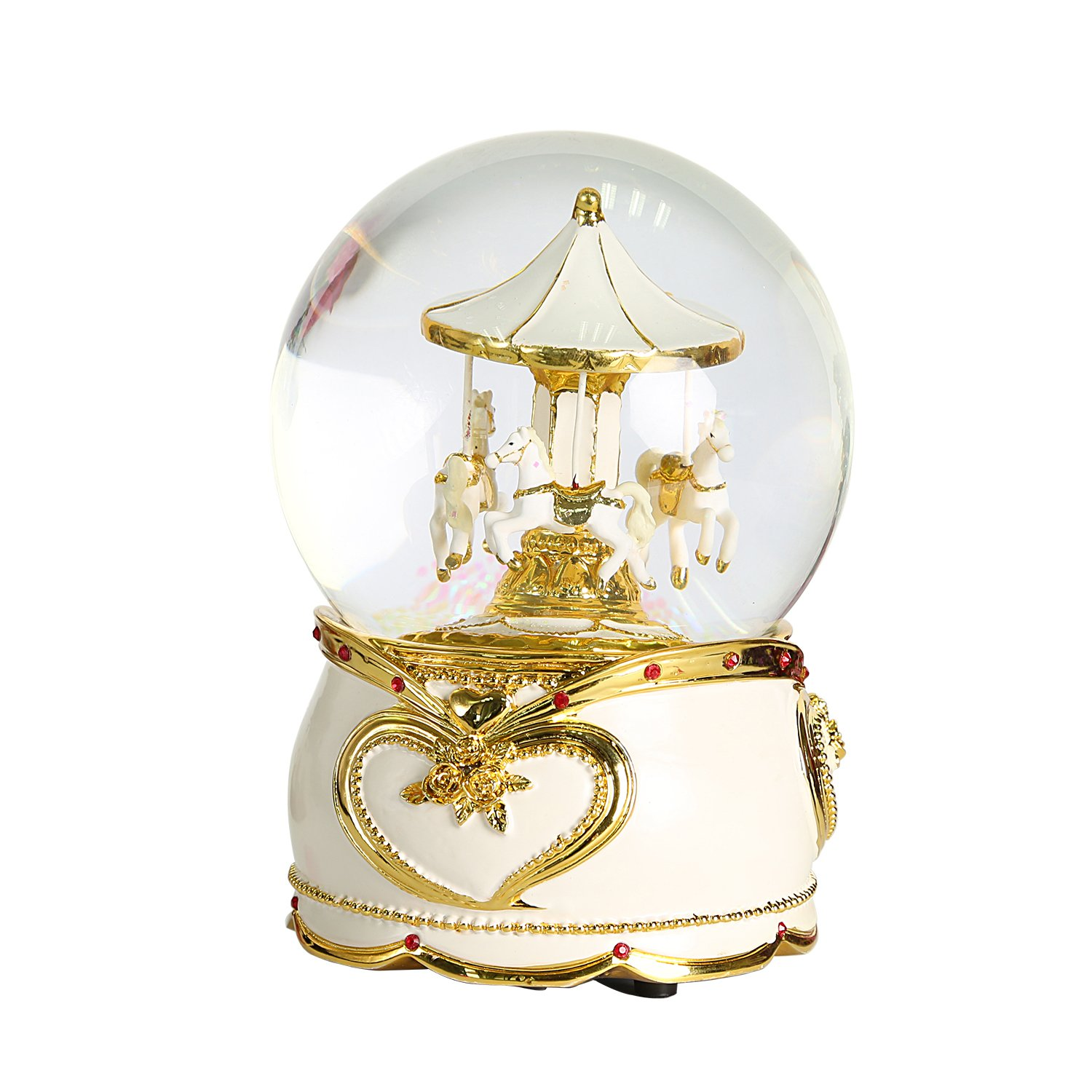 NON ROCK Carousel Horse Crystal Ball Christmas Musical Box Luxury Small Color Change Luminous Rotating