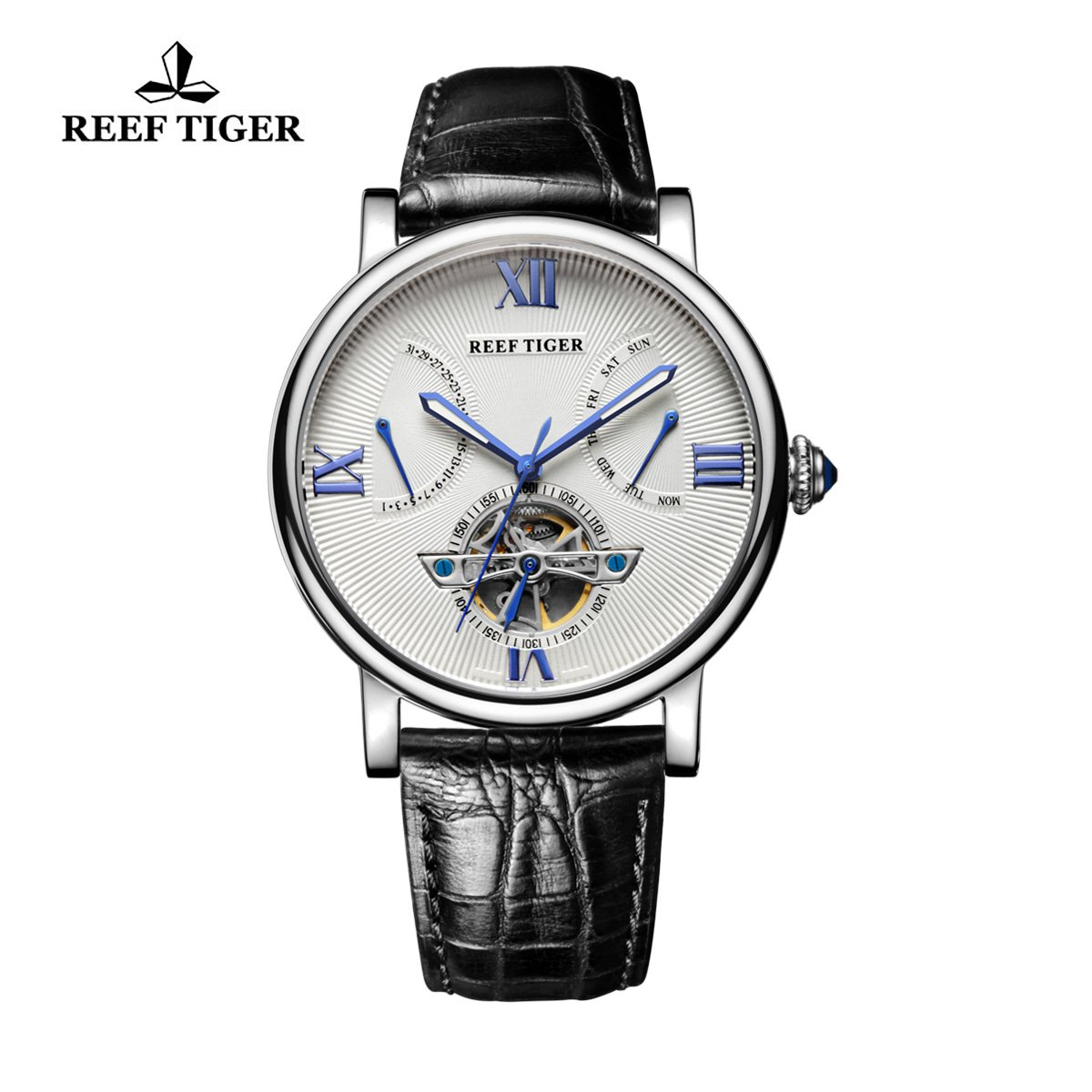 Reef Tiger Men's Tourbillon Watch with Date Day Steel White Dial Leather Strap Watch RGA191