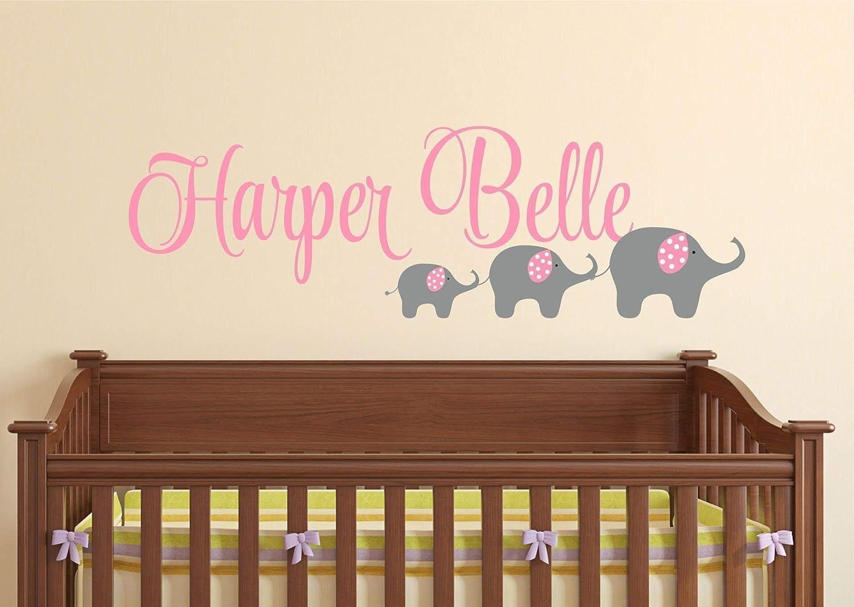B01AUJCO4K Elephant Nursery Wall Sticker, Personalized Name Decal, Nursery Decor 71P6C7FNtCL