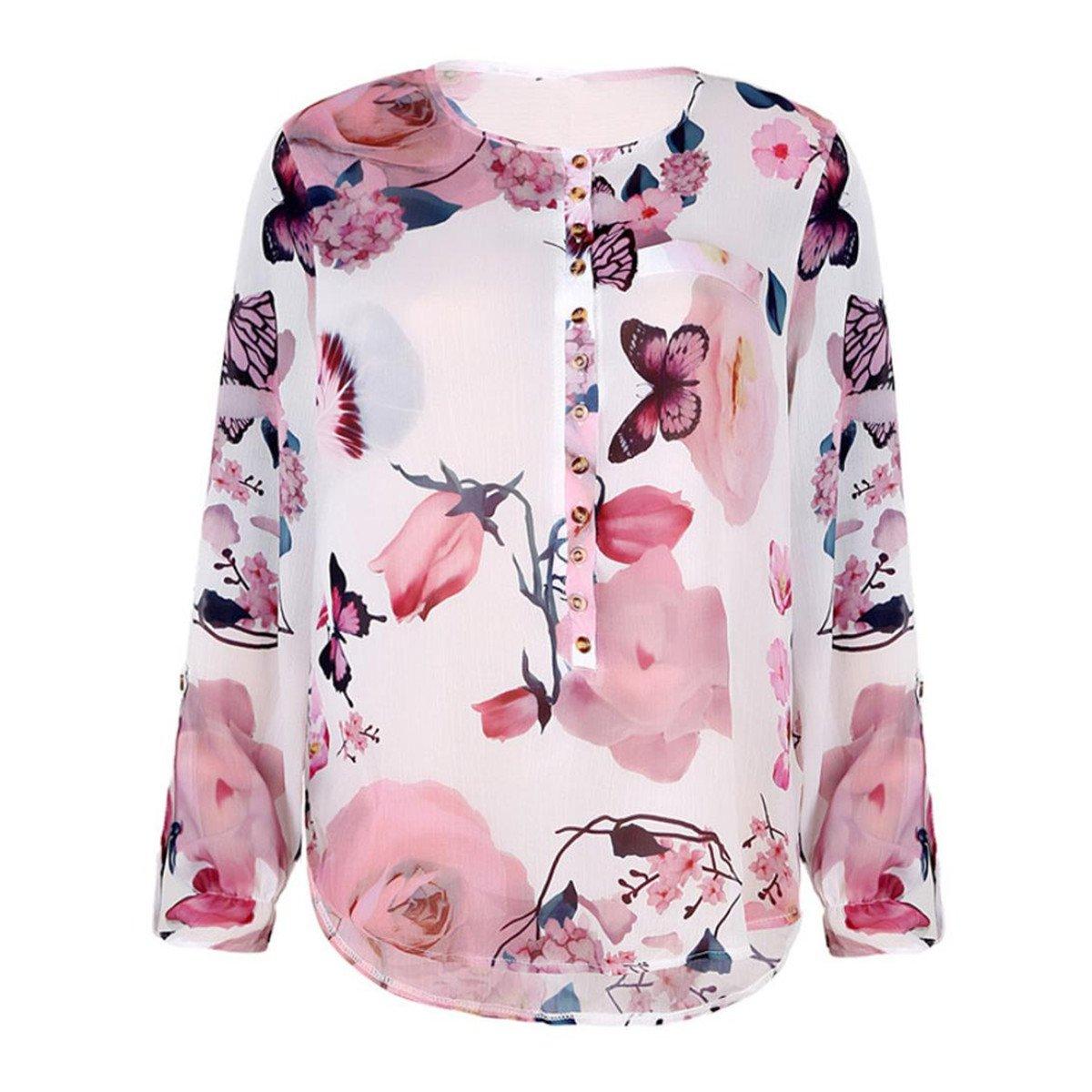 HongXander Plus Size Women Casual Floral Printed Beach Blouse Button T-Shirt Chiffon Irregular Hem Top by HongXander-Shirts (Image #4)