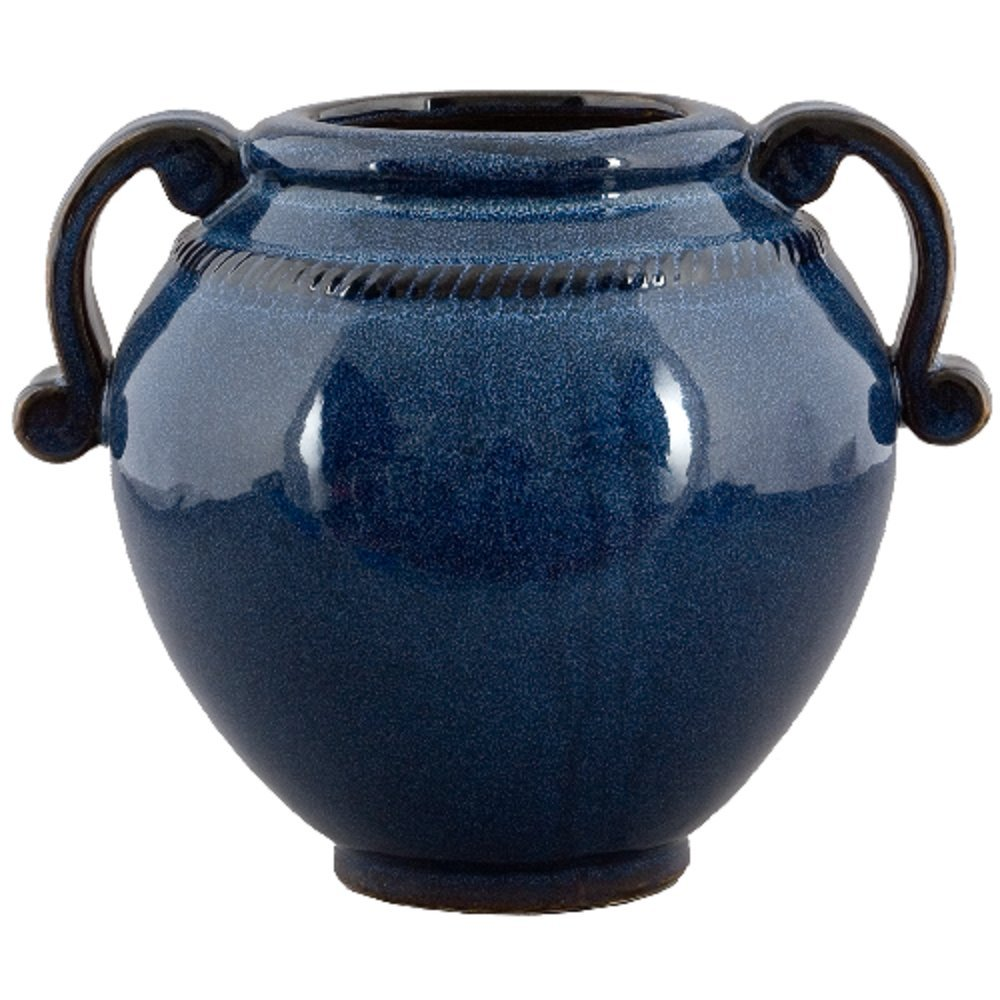 Home decor. Blue Round Vase with Handles. Dimension: 12 x 10 x 10. Pattern: Blue Majolica.