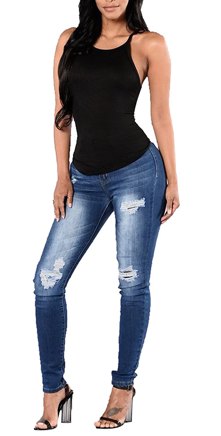 d364e1620b Women s Classic High Rise Butt Lift Ripped Stretch Pants Super Skinny Jeans  at Amazon Women s Jeans store