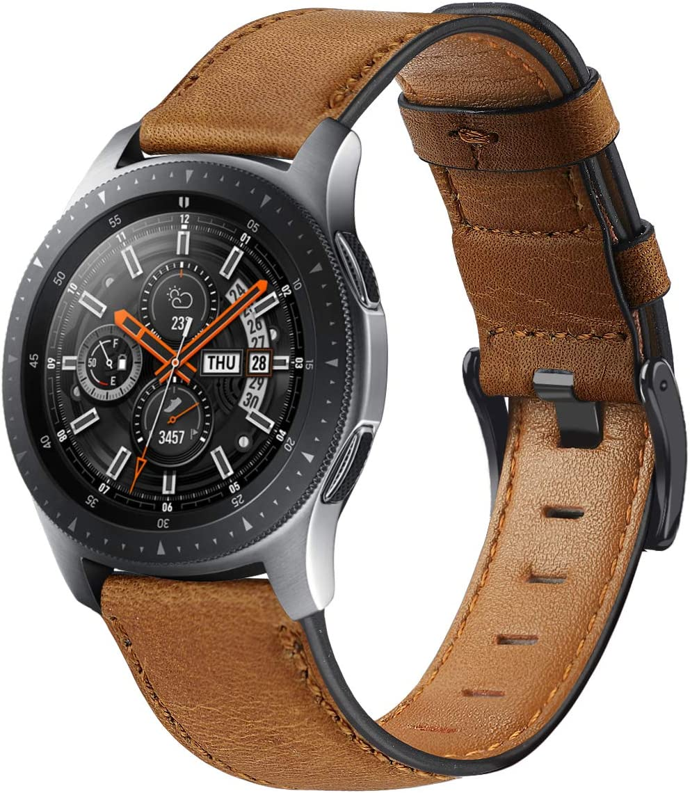Compatible with Galaxy Watch 46mm Bands Leather,Gear S3 Bands 22mm Genuine Leather Replacement Strap Watch Band for Samsung Galaxy Watch 46mm Gear S3 Classic/Frontier Smartwatch (Color-Brown)