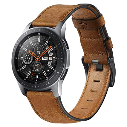 Compatible with Galaxy Watch 46mm Bands Leather,Gear S3 Bands 22mm Genuine Leather Replacement Strap Watch Band for Samsung Galaxy Watch 46mm Gear S3 ...