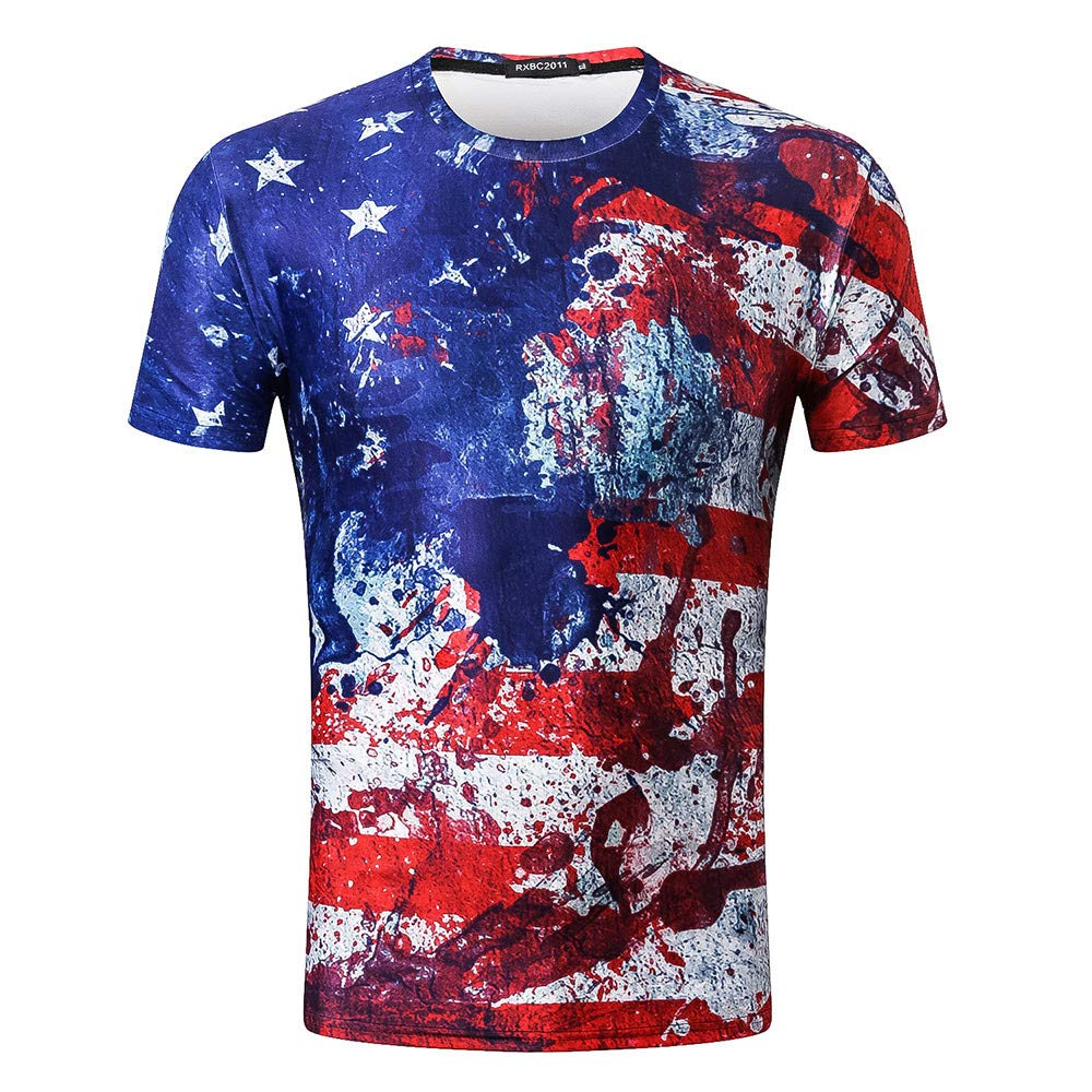 Veodhekai Men's American Flag T-Shirt Blouse Tops Old Splash-Ink 3D Printing Short Sleeve O-Neck Tops Blue