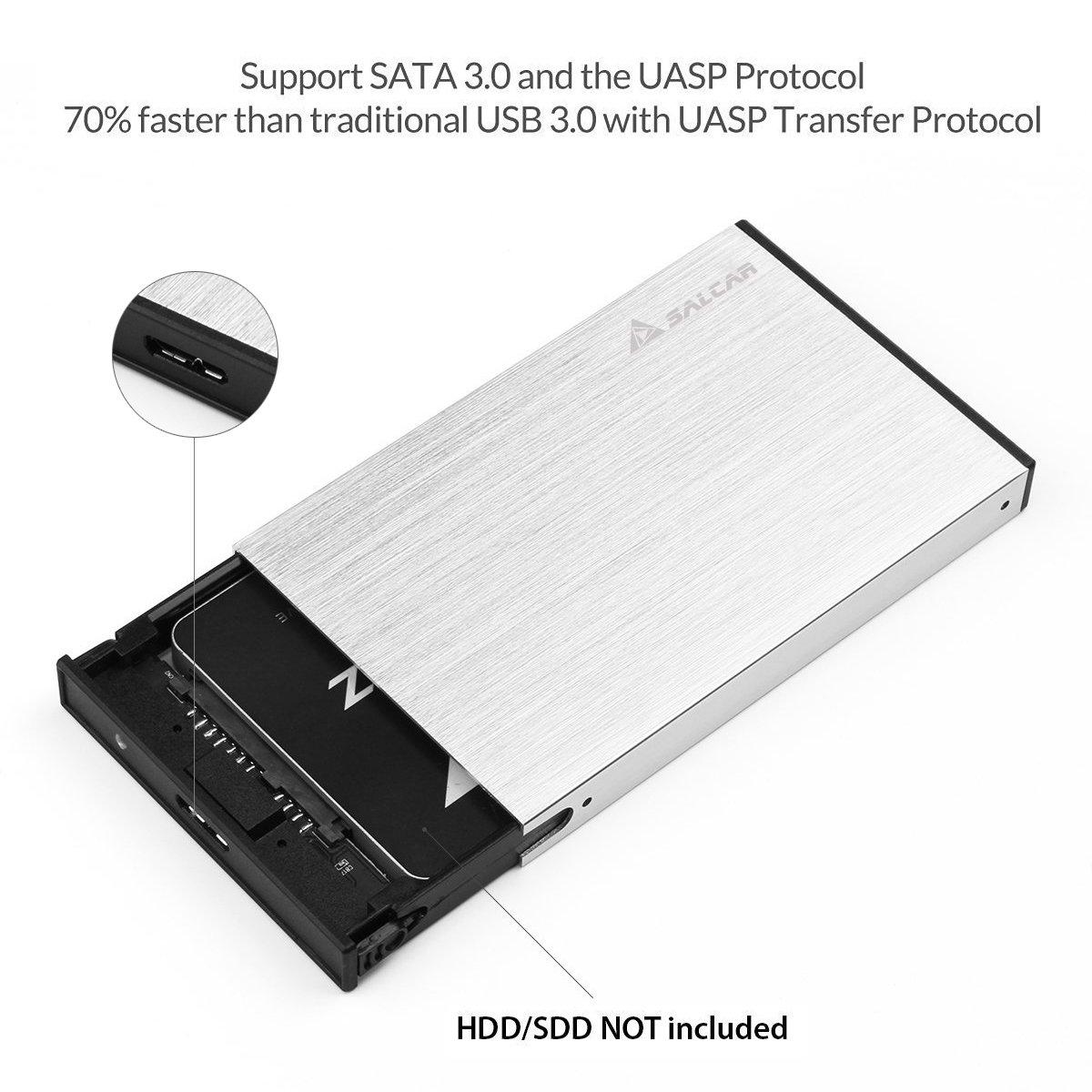 Compatible avec Windows 2000 // XP // Vista // 7//8 Noir Salcar Aluminium USB 3.0 Bo/îtier externe pour disque dur /Étui 9,5mm 7mm SSD 2,5 SATA-I II III HDD avec USB3.0 c/âble Mac OS 9.1//10.8.4 UASP optimis/é pour SSD