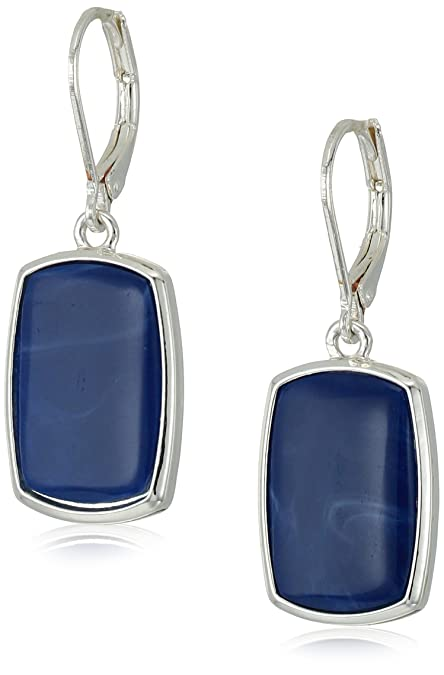 c58af2977 Image Unavailable. Image not available for. Color: Nine West Silver-Tone  and Denim Large Drop Earrings
