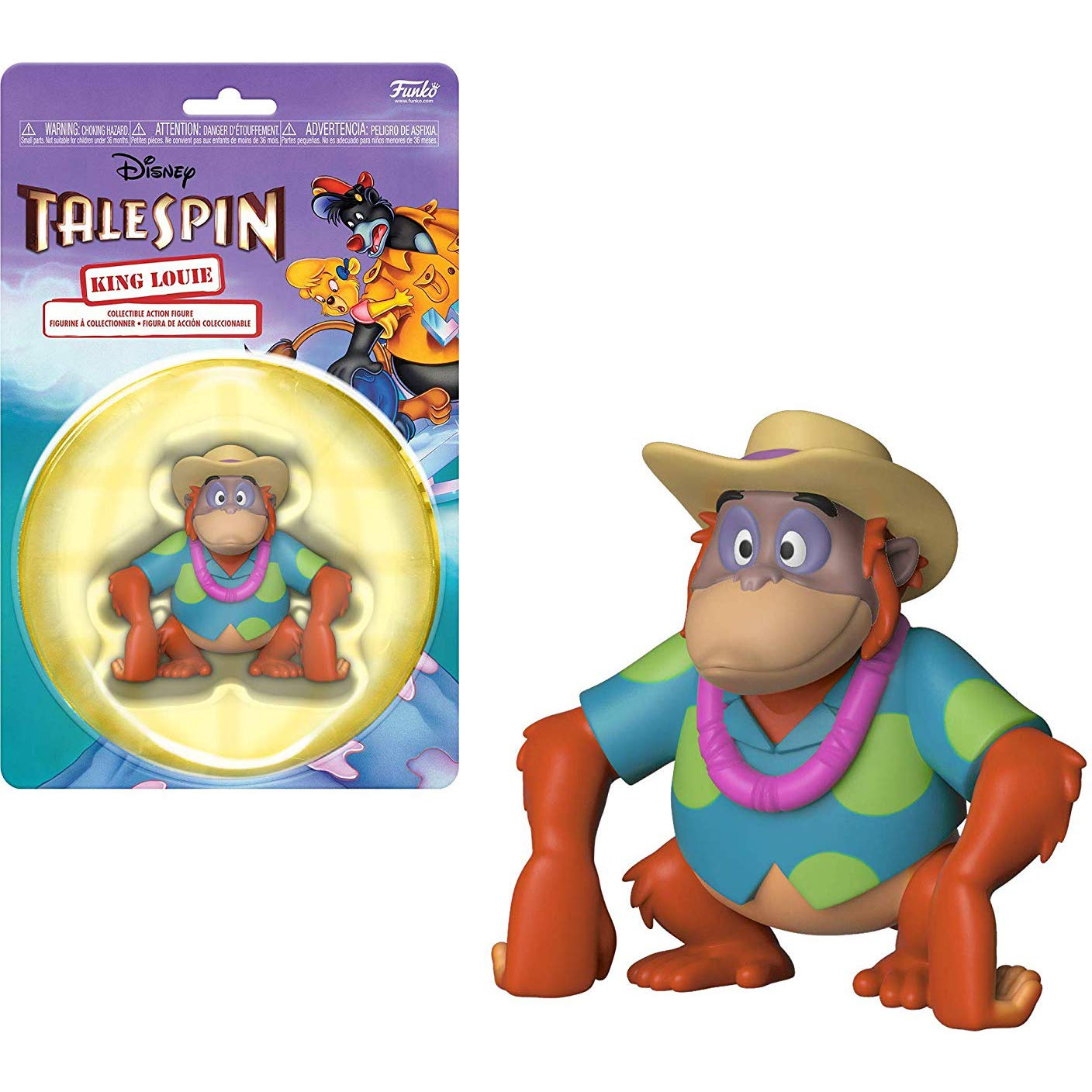 32877 King Louie ~Talespin~ x Funko The Disney Afternoon Mini Action Figure 1 Classic Disney Trading Card Bundle