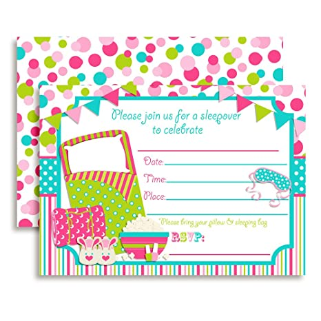 Sleepover Slumber Party Birthday Invitations 20 5x7 Fill In Cards With Twenty White Envelopes By AmandaCreation