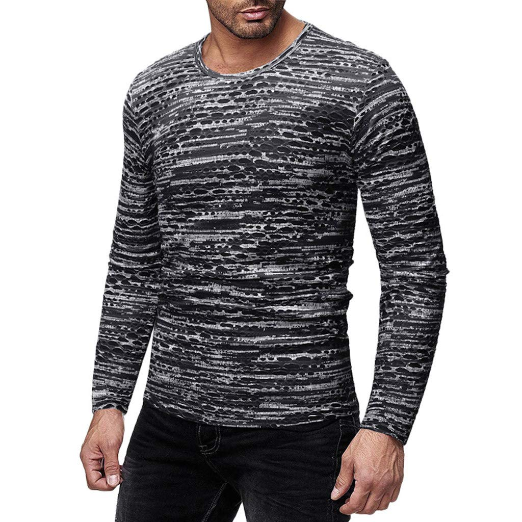 Sunmoot 2019 Long Sleeve Printed T Shirt for Men Spring Casual O-Neck Top Shirt Blouse Pullover