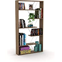 Home Canvas Modern Book Shelves for Living Room or Study Room Book Shelve, Easy Assembly Book Shelf - Walnut and Chrome