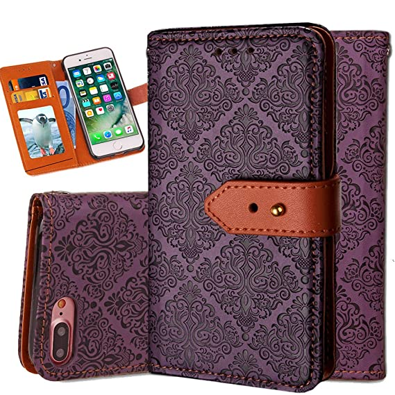 pretty nice d3290 e24ec iPhone 8 Plus Case Wallet,iPhone 7 Plus Wallet Case for Women,Auker Vintage  Mural Folio Flip Leather Fold Stand Shockproof Body Protective Buckle ...