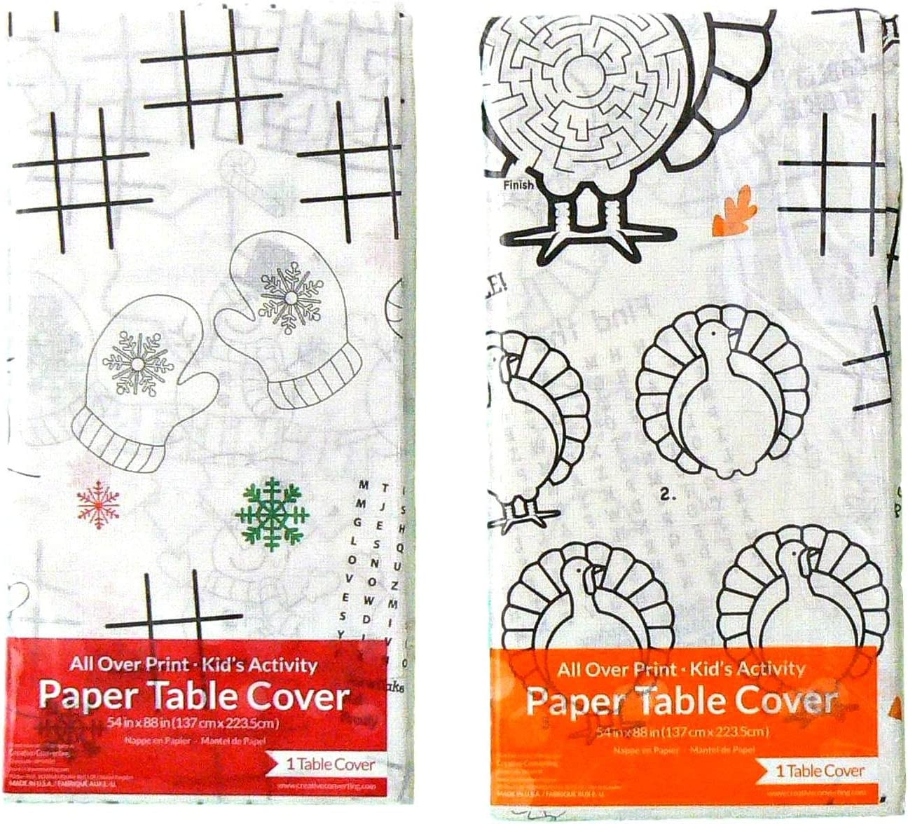"""table cover paper 54/"""" x 88/"""" 2 New Thanksgiving Children/'s Activity Tablecloths"""