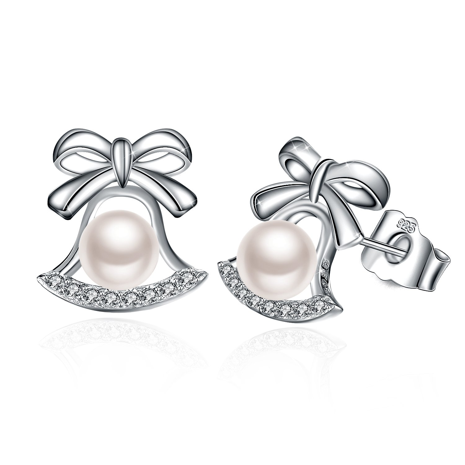 J.Rosée Earrings, Simulated Pearl Stud Earrings 925 Sterling Silver, Jewelry Gifts for Women Girls