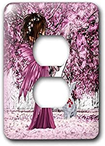3dRose lsp_218898_6 Pink Woodland Fairy Enchanted Forest with a Snow White Bunny 2 Plug Outlet Cover, Multicolor