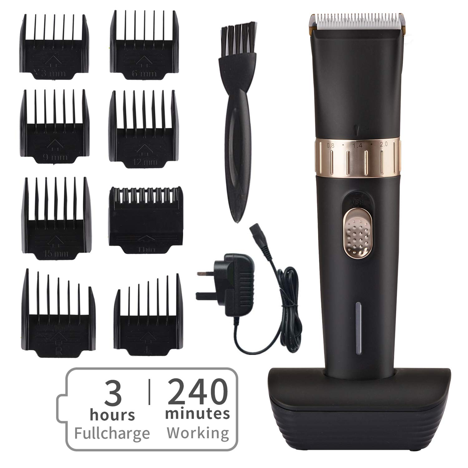 BESTBOMG Cordless Hair Clipper Kit for Men, Speed Adjustable Hair Trimmer with Ceramic Blade, Rechargeable Hair Cutting Machine with 8 Guide Combs Used for Family Hairdressing
