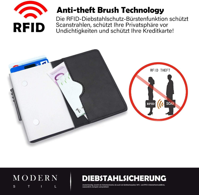 Paquete de tarjetas de cr/édito de piel de primera capa Klassisches Schwarz