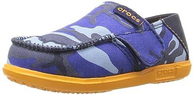 Crocs Santa Cruz Camo Loafer Flat (Toddler/Little Kid), Navy/Mango