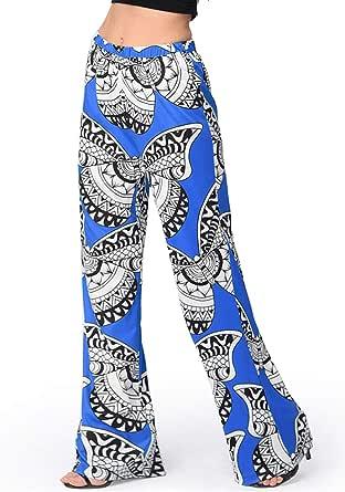 Women's Pants Elastic Waist Floral Wide Leg Pants