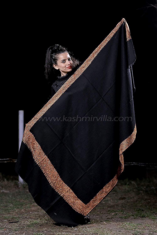 Black Colour SemiPashmina Sozni Shawl With Beautiful Border Owning A Unique Accessory.