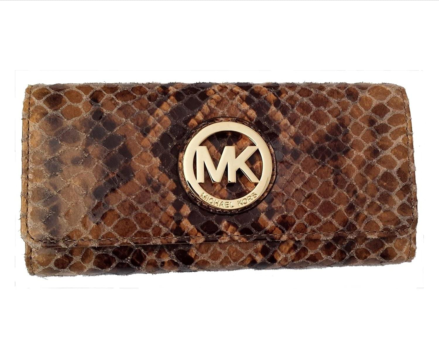 46d1a6c3432f Amazon.com: Michael Kors Fulton Flap Continental Sand Embossed Leather  Wallet: Shoes