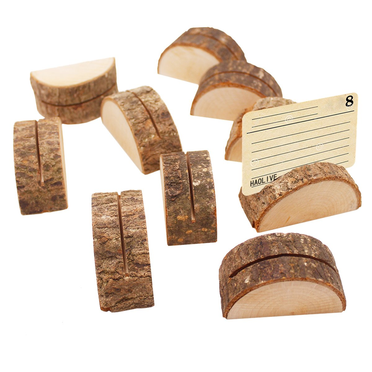 Rustic Wood Semicircle RetroTable Numbers Holder Stump Memo Clip Holder Picture Memo Note Photo Clip Holder Party Decorations Wedding Table Name Card Holder Message Clip(10PCS)