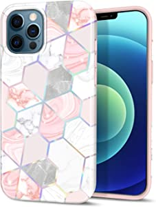 "CAOUME Compatible with iPhone 12 iPhone 12 Pro Marble Geometric Design Sparkly Glitter Protective Stylish Slim Thin Cute Holographic Pink Cases for Apple Phone 6.1"" 2020, Soft TPU Silicone Bumper"