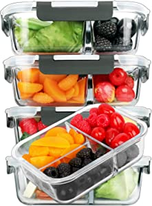 [5-Pack]Glass Meal Prep Containers 3 Compartment with Lids, Glass Lunch Containers,Food Prep Lunch Box,Bento Box,BPA-Free, Microwave, Oven, Freezer, Dishwasher (36 oz)