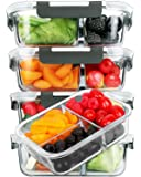 [5-Pack]Glass Meal Prep Containers 3 Compartment with Lids, Glass Lunch Containers,Food Prep Lunch Box,Bento Box,BPA…