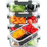[5-Pack, 36 oz]Glass Meal Prep Containers 3 Compartment with Lids, Glass Lunch Containers,Food Prep Lunch Box,Bento Box,BPA-F