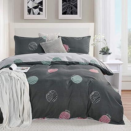 Amazon Com Polka Dot Bedding Set Gray Duvet Cover Set Queen Size