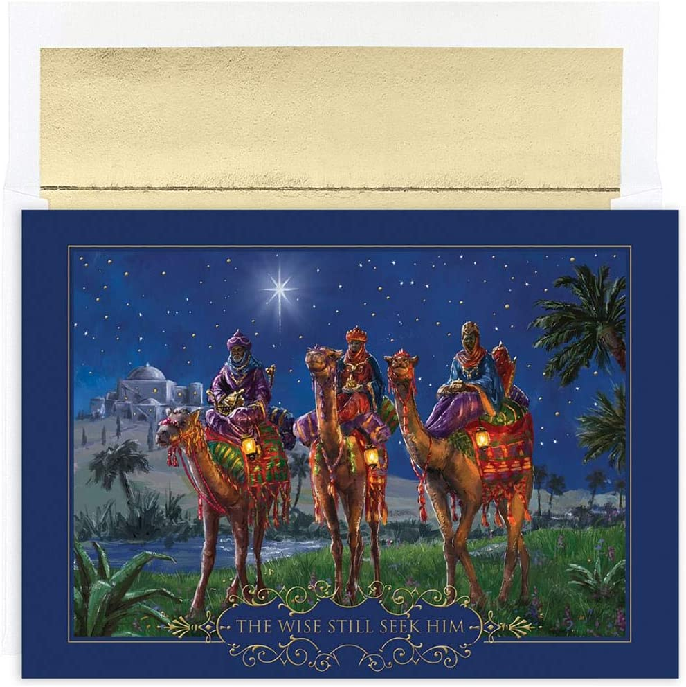 Sourced Wisemen at Night Holiday Cards with Envelopes 90 Pack