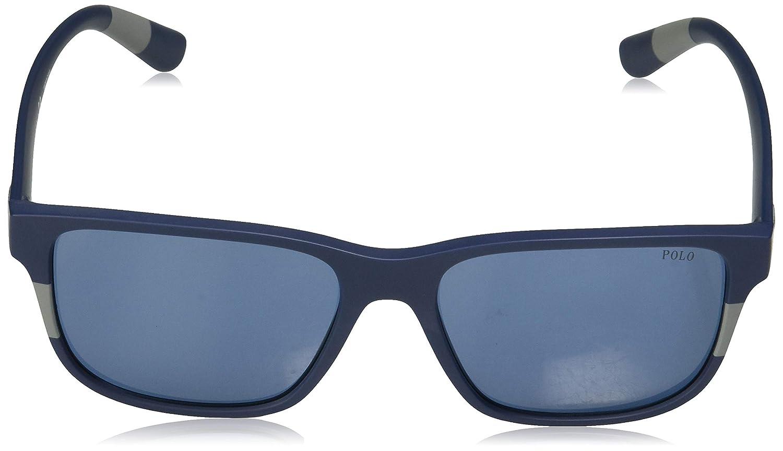 Amazon.com: Gafas de sol Polo PH 4137 559080 MATTE BLUE GRIS ...