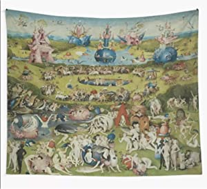 Tapestry The Garden of Earthly Delights Wall Hanging Beach Towel Blanket Picnic Yoga Mat Tapestries Home Decoration-130cm×150cm