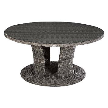 Gartentisch rund Aluminium und Kunstharz geflochten – DIM: D ...