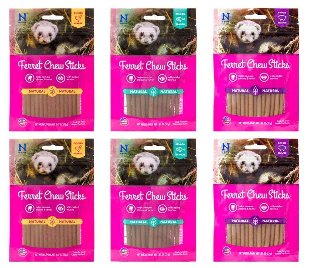 N-Bone Ferret Natural Chew Sticks 3 Flavor 6 Bag Variety Bundle: (2) Chicken, (2) Salmon, (2) Bacon - 1.87 Ounces by N-Bone