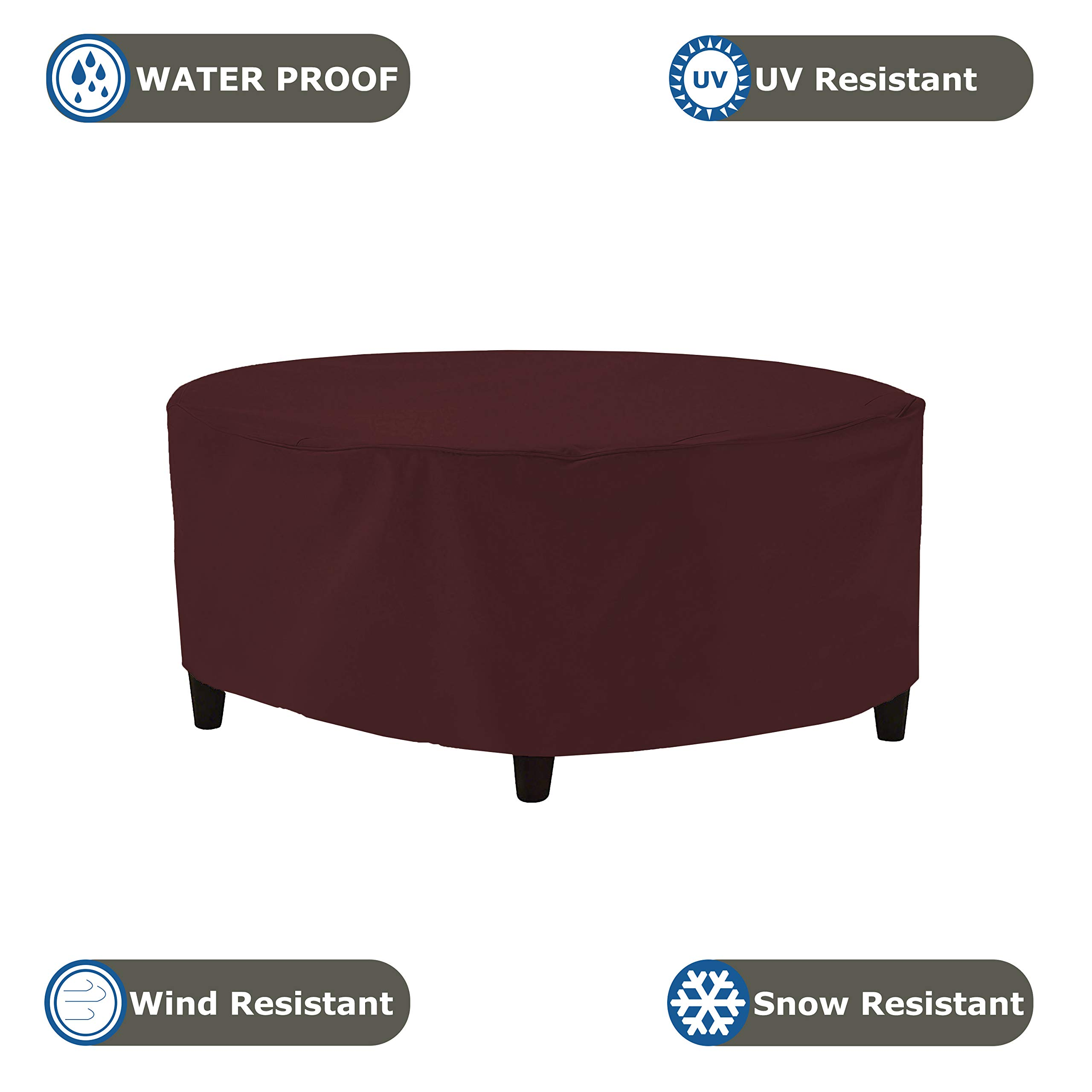 Outdoor Ottoman Cover 18 Oz - Waterproof & Weather Resistant Patio Furniture Covers - Round Ottoman Cover Heavy Duty Fabric with Drawstring for Snug fit (50'' Dia x 24'' H, Burgundy) by COVERS & ALL (Image #3)