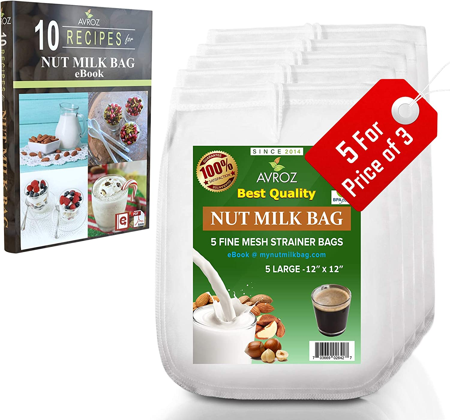 My Best Nut Milk Bag 5 Pack With Recipe eBook | Food Grade Nylon Mesh Reusable Filter Bags | Make Almond Milk, Use As Yogurt & Kefir Maker, Cheesecloth, Tea Filter, Food Strainer, Brew Coffee & More