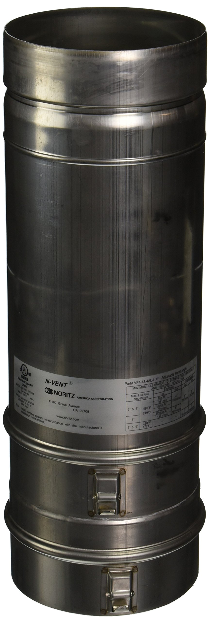 Noritz VP4-13.4ADJUST 4-Inch Diameter by 13.4-Inch Adjustable Straight Stainless Steel Single Wall Venting