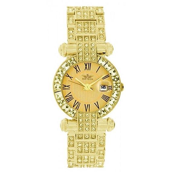 Softech Mujeres Metal Oro con de Oro Cara Diamante Pulsera Reloj Analógico Cuarzo Fold-Over