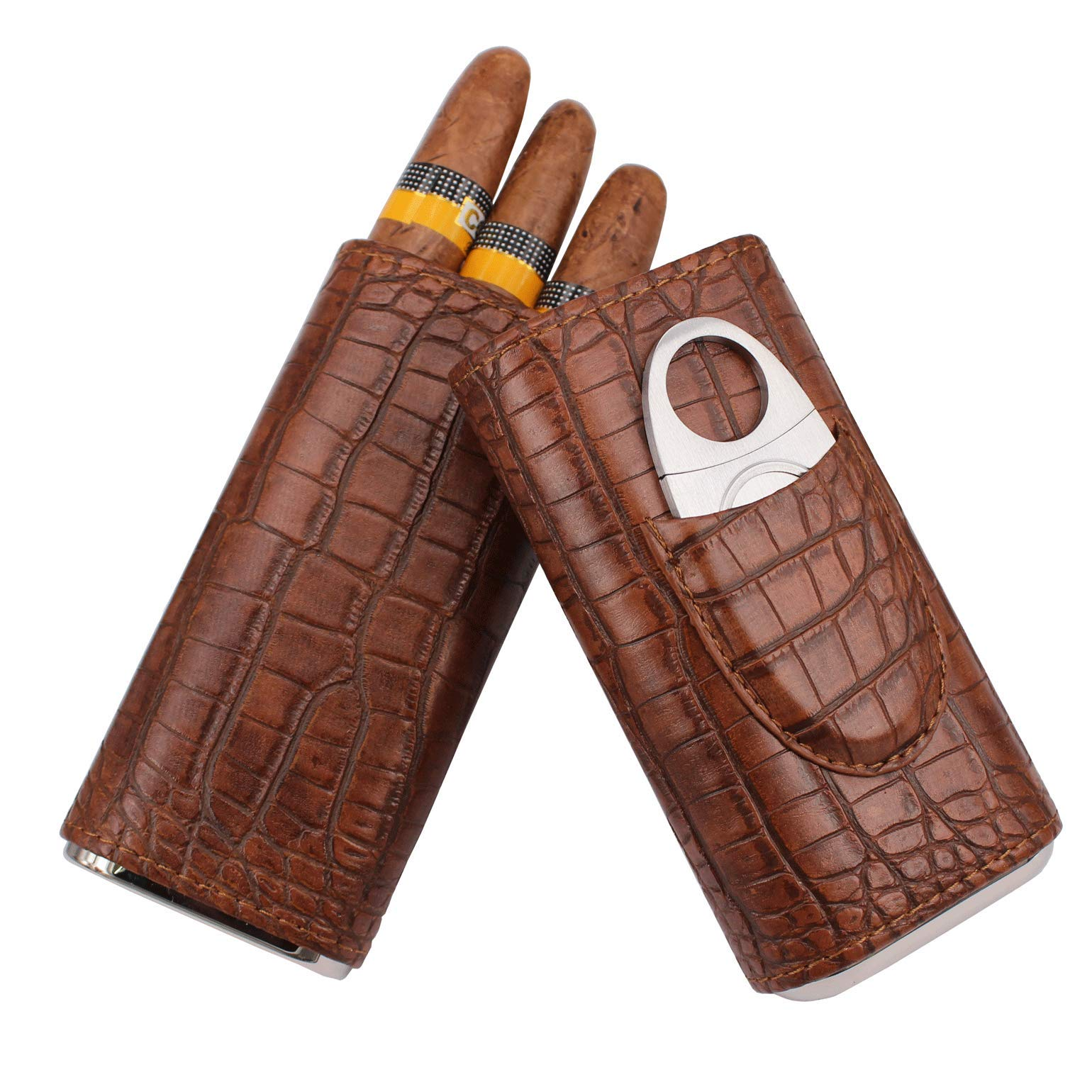 AMANCY 3 Holder Classic Vintage Crocodile Pattern Leather Cigar Case with Cedar Wood Lined