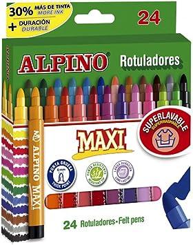 Rotulador Alpino punta maxi estuche 24 unidades: Amazon.es: Juguetes y juegos