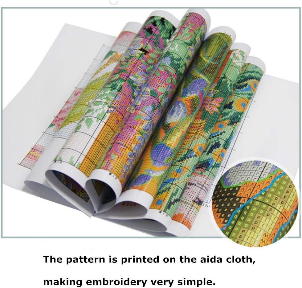 Proumhang 14 CT Kits de bordado DIY Mantel de punto de cruz para bordar 2 hilos Aida Canvas Blanco 36x36cm Ciervos coloridos